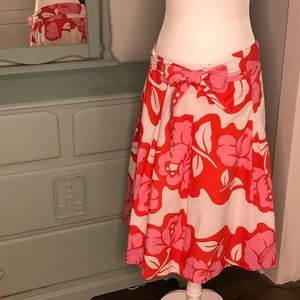 NWT Talbots floral A-line skirt pink red size 8